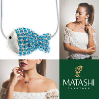 16 Rhodium Plated Necklace W/ Fish Design & Ocean Blue Crystals By Matashi on sale