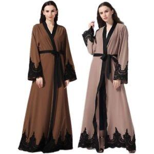 Muslim-Women-Lace-Open-Front-Dubai-Cardigan-Robe-Islamic-Maxi-Dress-Kaftan-Abaya