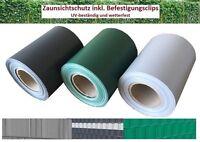 PVC Sichtschutz Streifen Anthrazit Zaunfolie Doppelstabmatten Zaun 35m 30 Clips