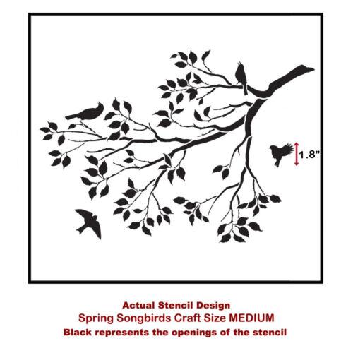 Spring Songbirds Craft Stencil By Cutting Edge Stencils Size MEDIUM