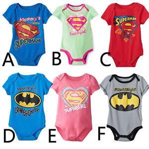 a3909cb88 New Superhero Baby Grow Romper Suit  Superman Batman Supergirl ...