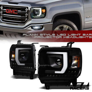 For-2014-2019-GMC-Sierra-Matte-Black-DRL-LED-Strip-Tube-Bar-Projector-Headlights