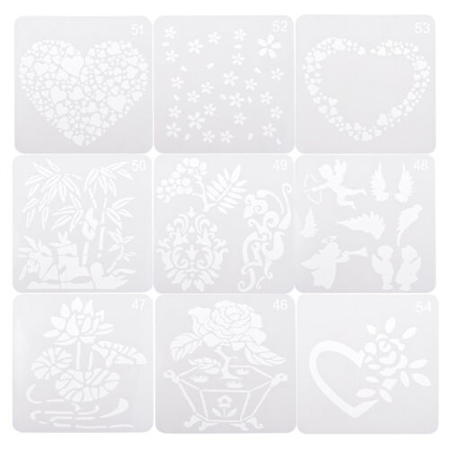 9PCS Hollow out Painting Stencil Template Tools Scrapbooking Crafts for Kids