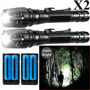 2PCS 990000Lumens LED Flashlight Tactical T6 Torch Rechargeable+Battery+Charger