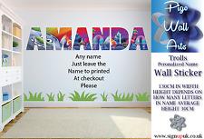 TROLLS Wall Art Adesivo qualsiasi nome di Adesivi Murali Bambini Camera Da Letto XX grandi.