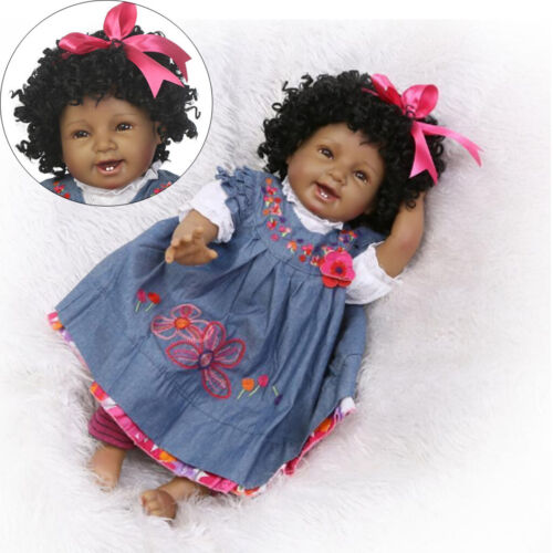 22/'/' Real Lifelike Reborn Black African Baby Girl Vinyl Silicone Handmade Dolls