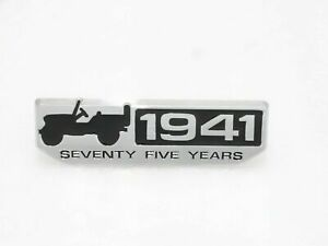 Willys-Ford-Jeep-Wrangler-034-1941-034-Scripted-Chrome-amp-Black-Metal-Decal-G502