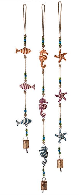 NAMASTE FairTrade Hanging Metal Painted Marine String with Bells Beads Windchime