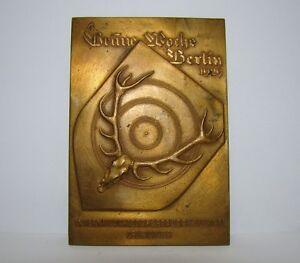 UnabhäNgig Orig Jagd & Fischen Plakette Grüne Woche Berlin 1929 Intern.schiessportausstellung Bronze