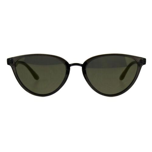 Womens Color Mirror Cat Eye Thin Horn Rim Plastic Sunglasses