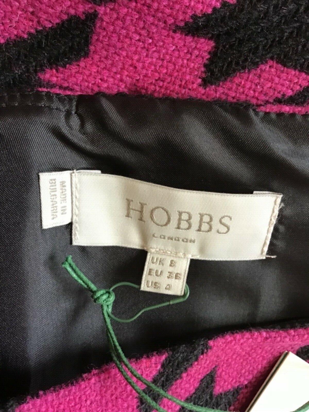 BNWT Hobbs NESTA nero nero nero e rosa controllare Misto Lana Gonna Taglia 8 costo f86c45