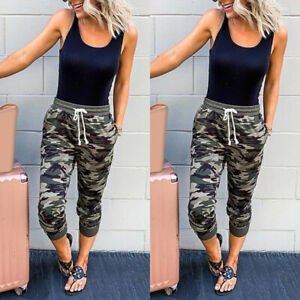 Women-039-s-Sport-Camouflage-Cropped-Trousers-Loose-Bottoms-Pants-Jogger-Sweatpants
