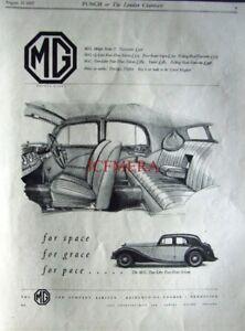 1937 Mg 2 Litre 4 Door Saloon Art Deco Car Ad Original Auto Print