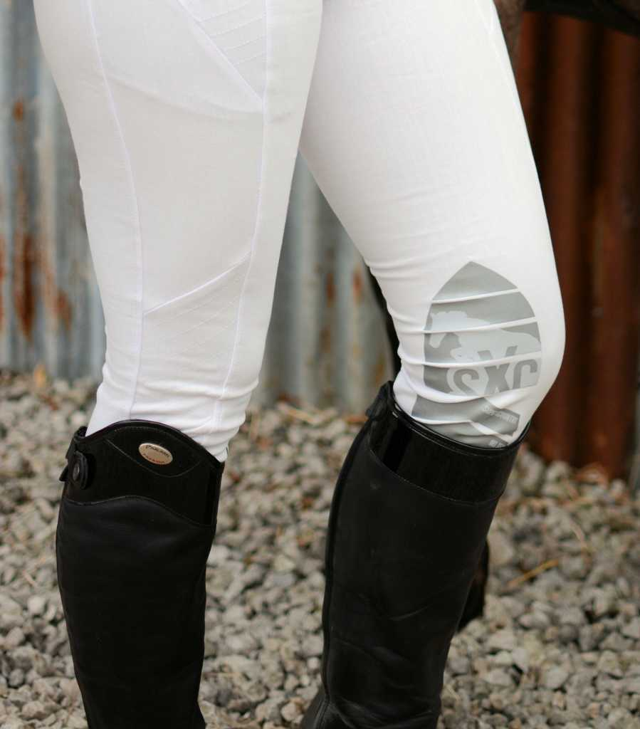SXC Equestrian Competition White Riding Breeches Silicone Gel Knee Grip
