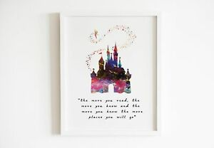 Cinderella Quote Disney Print Watercolor Poster Wall Art Framed Canvas Gift