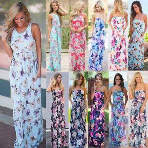 Womens-Floral-Print-Sleeveless-Dress-Ladies-Boho-Long-Maxi-Summer-Evening-Party