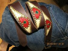 Ladies Leather Belt, Handmade, Red & Cream Leather Heart/Wings Inlays, Studs 38