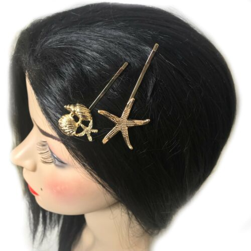2 diapositive STELLA MARINA CONCHIGLIA STELLA ORO DESIGN capelli d/'oro e diamante Grip Kirby Clip S52