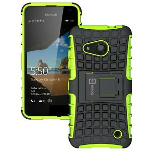 huge selection of 91cc1 8a738 Details about for Microsoft Lumia 550 Case - Neon Green / Black Dual Layer  Kickstand Armor