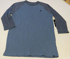 Hurley L Mens surf skate long sleeve striped t shirt NEW Stitch Raglan 4JQ blue