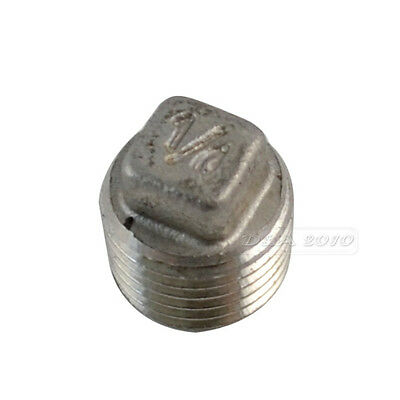 """1/8""""-2""""Malleable Square Head Pipe Fitting Plug Threaded Male Stainless Steel 304"""