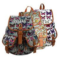 Ladies Girls Butterfly Owl Canvas Backpack Rucksack School bag Shoulder Bag FG