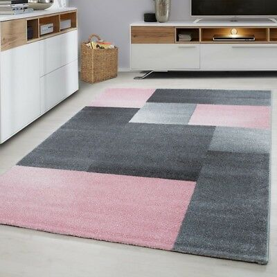 Modern Geometric Rug Pink and Grey Check Design Mat Large ...