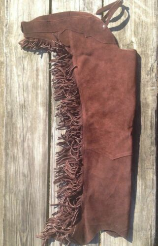 Western Saddle Horse Show Brown Suede Leather Chaps w// Fringe XS S M L XL XXL