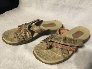 Women SKECHERS OUTDOOR LIFESTYLE Sandals Tan/Coral SIZE 10 Sport Slides Slip-on  | eBay