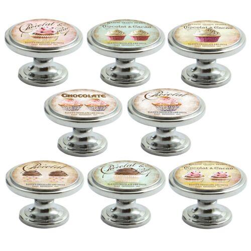 Chrome poli Boutons Tiroir Placard Cupcakes 38 mm poignées de portes décorées