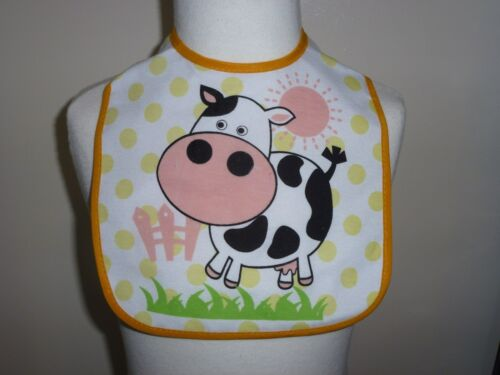 FIRST STEPS BABY GIRL BOY ANIMAL FARM SHEEP COW HORSE BIB VELCRO WASHABLE COTTON
