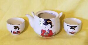 Japan-TeaPot-With-a-Girl-039-s-Design-3-Pieces