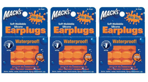 Macks Mack's #10 ow Soft Mouldable Silicon Earplugs Kids 18prs 3 Packs Of 6