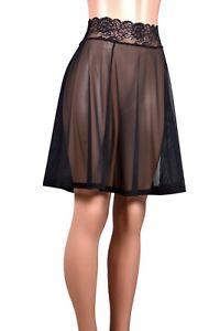 212c53adf7158 Black Mesh Flared Skirt sheer stretch net mini XS S M L XL 2XL 3XL ...