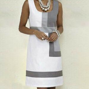 Women-Casual-Shift-Geometric-Print-Dress-O-Neck-Sleeveless-Mini-Dresses