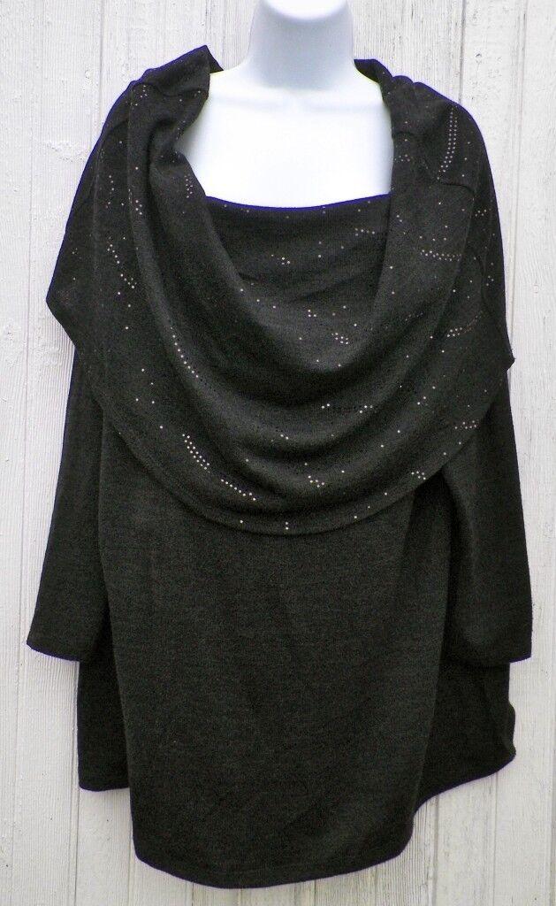 damen Größe 1X Top schwarz Stretch Knit Wide Collar Glitter Accents New with Tags