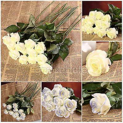 REAL LATEX ROSE FLOWERS WEDDING BOUQUET HOME DESIGN DECOR 10-50PCS FREE SHIPPING