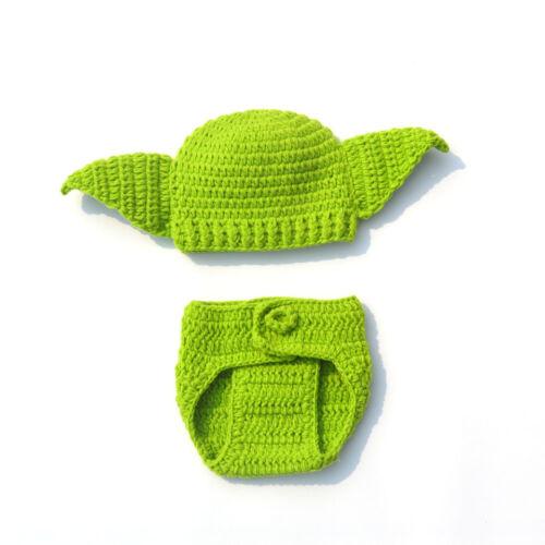 Newborn Baby Girls boys Yoda Outfits Crochet Baby Frog Costume Photo Props 1 Set