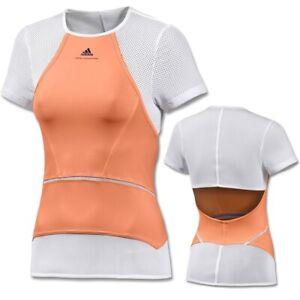 Adidas Stella McCartney Damen Laufshirt Tennis Shirt Top Sport NEON orange/weiss
