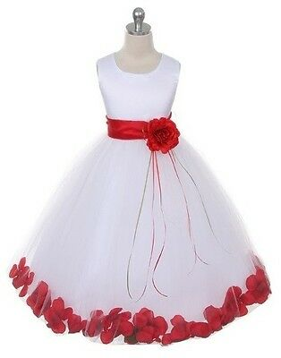 Petal Sash Flower Girls Dress Wedding Pageant Formal Prom Party Birthday Dresses