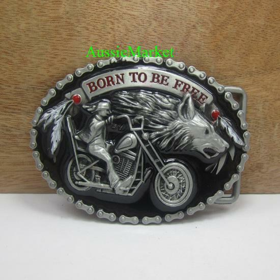 1 x mens belt buckle quality metal alloy motorbike bike chain wolf dog jeans new