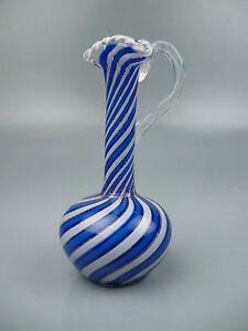 Antique Miniature Clichy Blue & White Swirl Glass Ewer w Torsade Rim & Handle GL