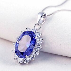 6-40CT-Oval-Sapphire-amp-Diamond-14K-White-Gold-Finish-Halo-Pendant-with-18-034-Chain