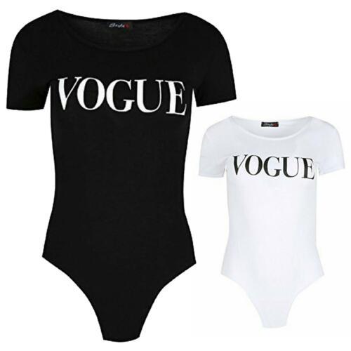 Nouveau Haut Femmes Jersey Vogue Imprimé à mancherons Body Justaucorps Top 8-14
