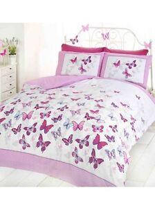 Papillon-Flutter-Grande-Taille-Set-Housse-de-Couette-Rose-Neuf-King-Papillons