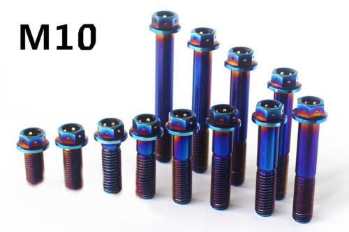 20//25//30//35//40//45//50//55//60//65//70//75mm Blue Titanium Motorcycle Flange Bolt M10