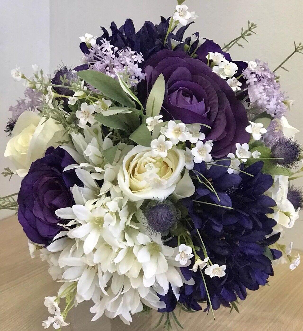 Artificiel wedding bouquet, mariée, mariage, en soie, rose, chardon, Agapanthus