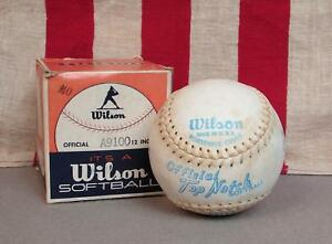 Vintage-Wilson-Top-Notch-Official-Softball-12-034-Horsehide-New-Original-Box-A9100