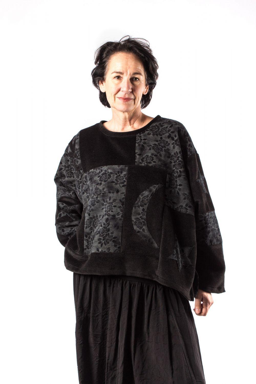 Champagne Horatio Patchwork Midi Shirt Foux ,oneGröße, schwarz mit Mond : 1Größe s