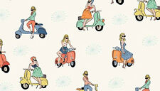 "2 yards   Andover Vacation ""Scooters"" on Cream Fabric"